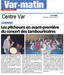 Var Matin - Les pitchouns en avant-première du concert des tambourinaïres