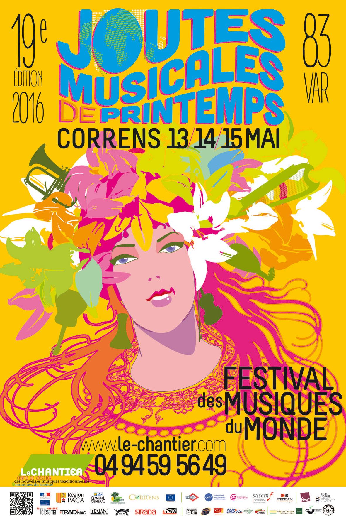 Affiche Joutes musicales de printemps - 19e édition - Festival des musiques du monde - 13-14-15 mai 2016